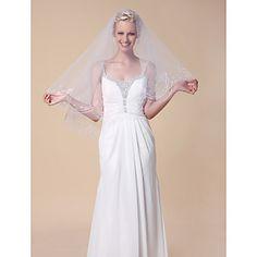 One-tier Fingertip Wedding Veils With Cut Edge – USD $ 14.99