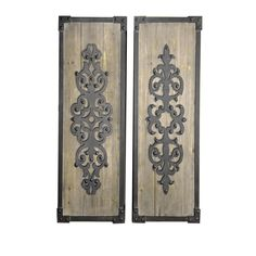Cooper Classics 40663 Kenton Wall Hanging in Natural Wood/Black Metal - Set of 2