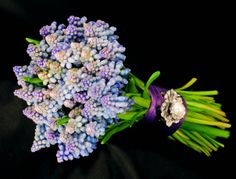 Simple and sweet. This small bouquet of spring blooming muscari is perfect for a simple wedding.