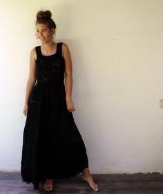 Crochet Dress Vintage 70s Boho Hippie Black Mexican High | Etsy Gold Silk Dress, Silk Skirt, Dress Skirt, Dress Vintage, Vintage 70s, Batik Dress, Summer Maxi, Cotton Tunics, Boho Hippie