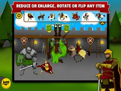 variety of knights, king, queen, dragons, catapult, battering ram and many other items...each item can be reduced or enlarged, rotated or fliped https://itunes.apple.com/us/app/sticker-play-knights-dragons/id836195612