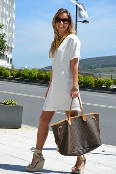 white dress, Louis, wedges. Love it all.