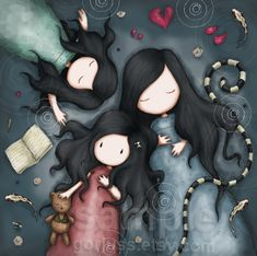 Items similar to The Calm After The Storm 8 x 8 Giclee Fine Art Print - Gorjuss Art on Etsy Art And Illustration, Illustrations, Mother Daughter Art, Calm After The Storm, Santoro London, Art Mignon, Wallpaper S, Pretty Pictures, Cute Cartoon