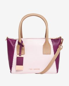 Colour block leather tote bag - Pale Pink | Bags | Ted Baker ROW