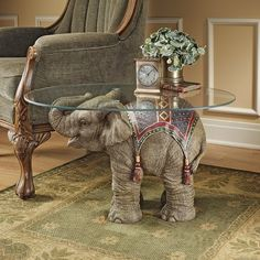 Design Toscano Jaipur Elephant Festival Indian Decor Coffee Table with Glass Top, cm, Polyresin, Full Color Indian Elephant, Elephant Love, Elephant Art, Elephant Design, Elephant Stuff, Elephant Meaning, Elephant Mugs, Elephant Tattoos, Elephant Table