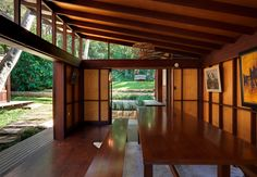 Architect-designed modern house for sale in Avalon. Angophora House by Richard Leplastrier. Australian Architecture, Contemporary Architecture, Interior Architecture, Residential Architecture, Interior Design, Japanese Bath House, Unusual Homes, Timber House, Tropical Houses