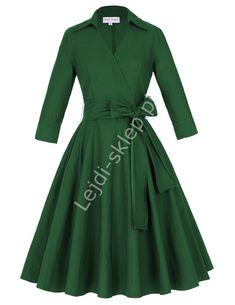 Zielona bawełniana sukienka w stylu retro | sukienka lata 60-te z kopertowym dekoltem