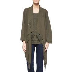 Shop Fringe-Front Open Cardigan from Pure Handknit at Neiman Marcus Last Call, where you'll save as much as on designer fashions. Shawl Collar Cardigan, Fringe Cardigan, Drape Cardigan, Cotton Cardigan, Open Cardigan, Latest Fashion For Women, Hand Knitting, Tunic Tops, Fashion Outfits
