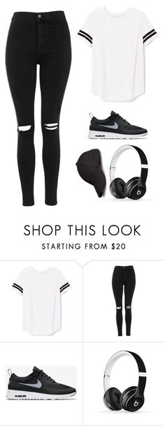 """""""Street style!"""" by amanda2423 ❤ liked on Polyvore featuring Victoria's Secret PINK, Topshop, NIKE, Beats by Dr. Dre, H&M, black, cap, nike and headphones"""