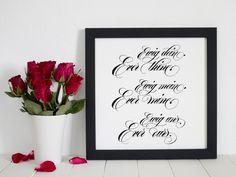 Wunderbares Liebesgedicht als Hochzeitsgeschenk, Kalligrafie Englische Schreibschrift / Love Poem for a bridal couple, calligraphy, copperplate