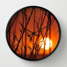 Bamboo Sunset Wall Clock by Laureenr