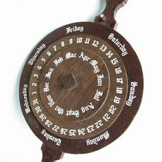 Dial Perpetual Calendar Wooden Hanging Rotating Wheels by MagiaMia