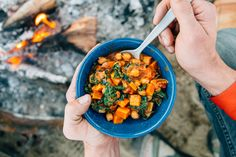 If you're looking for something hearty, comforting, AND healthy the next time you're out camping, you need to try this vegan sweet potato peanut stew.