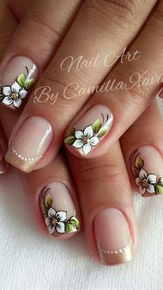 Unhas com Flores Flower Nail Designs, Flower Nail Art, Nail Art Designs, Gorgeous Nails, Pretty Nails, Nail Decorations, Stylish Nails, Cool Nail Art, Halloween Nails