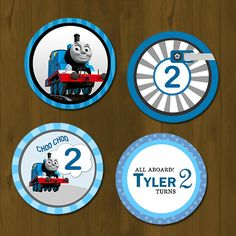 Thomas Train Birthday Cupcake toppers  by SplashboxPrintables, $7.00