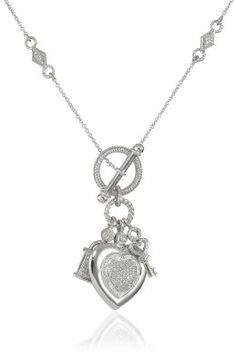 """Amazon.com: Sterling Silver Heart, Lock and Key Toggle Charm Diamond Pendant Necklace (1/5 Cttw, I-J Color, 12-I3 Clarity), 18"""": Jewelry"""