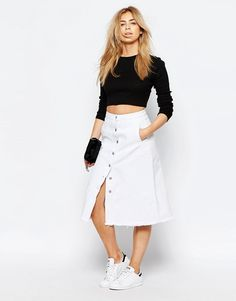 Boohoo+Button+Denim+A-+Line+Midi+Skirt
