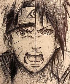 Naruto Uzumaki & Sasuke Uchiha (not my drawing, credit to whoever did it! Naruto Shippuden Sasuke, Itachi Uchiha, Anime Naruto, Gaara, Wallpaper Naruto Shippuden, Naruto Wallpaper, Naruto Art, Boruto, Manga Anime