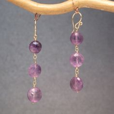 "Victorian 301 Amethyst drop earrings, about 2-3/4"" long."