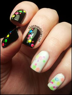 The black nails are more beautiful than the white one for me........