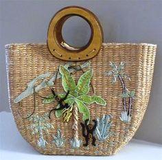 Cappelli Staworld Straw Raffia Wood Purse Handbag Tote Monkey Jungle Safari Bananas #CappelliStraworld