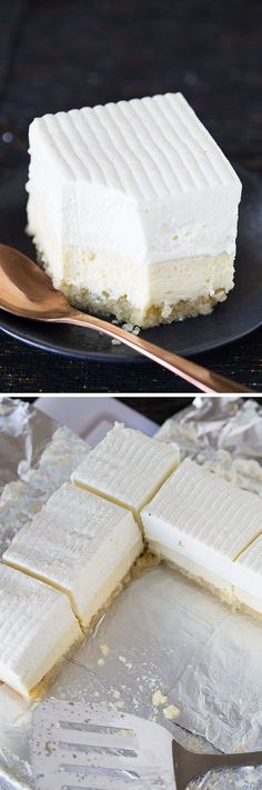 This recipe for Vanilla Bean Cheesecake bars on a buttery macadamia nut crust is easy, decadent, and delicious! A giant, beautiful dessert for company.