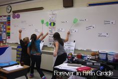 Kids are split into groups and one person from each group comes to the board where the teacher has vocabulary words all over the board. The teacher reads a definition and the kids need to choose the matchinh word with a flyswatter to the definition.