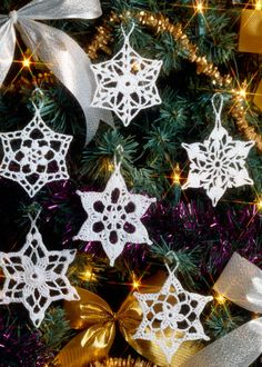 Crochet snowflake tree decoration