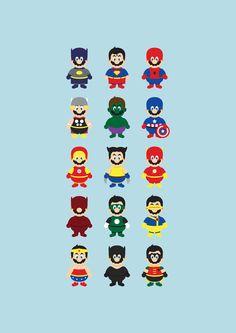 Mario (Batman + Superman + Spiderman  Thor + Hulk + Captain America +  Iron Man + Wolverine + Flash  Daredevil + Green Lantern + Cyclops +  Wonder Woman + Cat Woman + Robin)