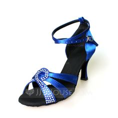 Women's Satin Heels Sandals Latin With Ankle Strap Dance Shoes (053056769)