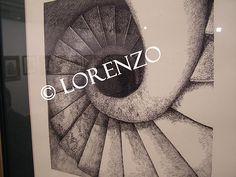 Almansa, escalera de Caracol del Castillo. Dibujo a plumilla sobre papel