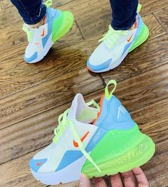 Nike air max 270 white volt blue - Sneaker - Best Shoes World Cute Sneakers, Shoes Sneakers, Kicks Shoes, Tennis Sneakers, Lit Shoes, Nike Tennis Shoes, Women's Shoes, Tenis Nike Casual, Most Popular Nike Shoes