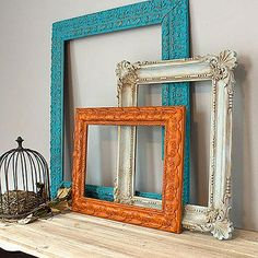 Redo Frame Trio With Chalky Finish -- Frames from flea market pop as colorful walls accents.