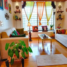 Colourful Living Room, Indian Living Rooms, My Living Room, Living Room Decor, Living Area, Indian Room Decor, Ethnic Home Decor, Boho Decor, Home Room Design