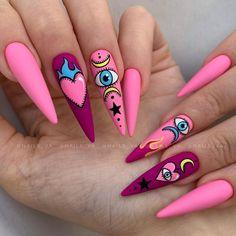 Stylish Nails, Trendy Nails, Confetti Nails, Goth Nails, Nail Games, Halloween Nail Art, Press On Nails, Nail Tech, Almond