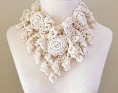 RoseOnie Cotton Scarf Ivory Colour Crochet Scarf by Valerie Baber Designs - IntricateKnits, $55.00