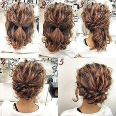 Romantic-Easy-Updo-Hairstyle-Tutorial-for-Short-Hair-Sweet-and-Simple-Prom-Hair-. - Romantic-Easy-Updo-Hairstyle-Tutorial-for-Short-Hair-Sweet-and-Simple-Prom-Hair-Styles Up Dos For Medium Hair, Medium Hair Styles, Long Hair Styles, Medium Curly, Medium Length Hair Updos, Short Curly Hair Updo, Hairstyle Short, Shoulder Length Updo, Updos For Medium Length Hair Tutorial