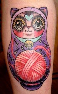 Babushka cat tattoo. Love this!