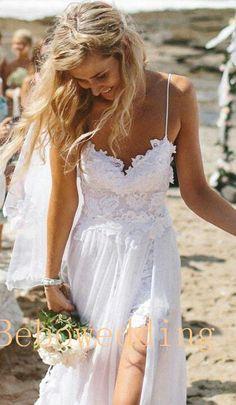 Spaghettis straps sweetheart lace chiffon beach wedding dress
