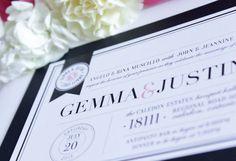Pink & Black Modern Wedding Invitation Set