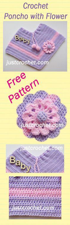 Free baby crochet pattern for poncho. #crochet