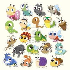 Illustration of Set of cute cartoon insects vector art, clipart and stock vectors.