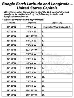USA Latitude And Longitude Map Free Printable ESL Tutoring Tools - Longitude and latitude of the united states