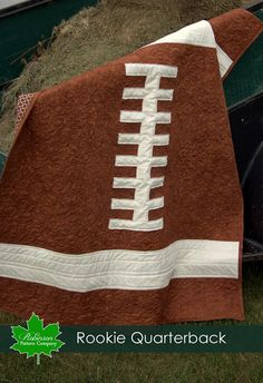 CUTE Football quilt!  Baby Quilt Pattern - Rookie Quarterback - baby football sports quilt pattern - touchdown - diy - quick and easy. $8.99, via Etsy.