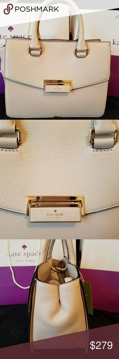 "ENDING WEDNESDAY NWT Kate Spade small satchel in a Pumice color. Has interior zipper pocket & 1 open pocket. Length: 10.5"", height: 8"" & width: 5"". MSRP $379. ** Sorry, no trades. Please do not post offers in comments. OFFERS OKAY, BUT NO LOWBALLS! PRICE HAS ALREADY BEEN DROPPED!!  Listing will be removed this Wed. kate spade Bags Satchels"