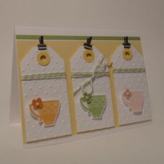 Paper craft and card idea using Stampin' Up! Tea Shoppe stamp set.
