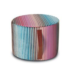 The Jacaranda Indigo Cylinder Pouf is bursting with rich color and luxurious texture in a cool ombre design. Made in a supremely soft viscose blend, thick velvety stripes wrap around this pouf's plush form, fading...