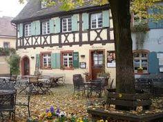 Siebter Himmel - beautiful restaurant and terrace in cobble-stoned historic town of Burkenheim. Try the gebackener Muensterkaese. Cyclists, Alsace, Campervan, Terrace, Pergola, Heaven, Outdoor Structures, Restaurant, Plants