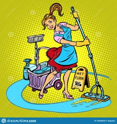 Illustration about Cleaning lady washes the floor. Comic cartoon pop art retro vector illustration drawing. Illustration of people, dust, cleaner - 150306042 Cleaning Business Cards, Retro Vector, Fashion Sketches, Clean House, Pop Art, Cleaning Services, Flooring, Cartoon, Comics