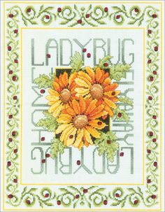 Image detail for -... - Ladybugs Counted Cross Stitch Kit - 10-1/2X13-1/2 14 Count